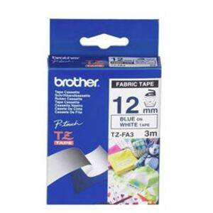 Brother TZe-FA3 12mm x 3m Blue on White Fabric Tape