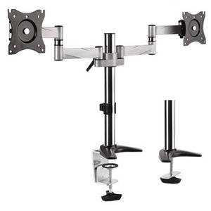 """Brateck 13-27"""" Dual Monitor Stand with Clamp & Grommet Base"""