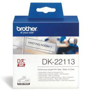 Brother DK22113 Continuous Clear Film Tape (Black Print on Clr) 62mm
