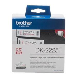 Brother DK22251 Continuous Length Paper Label Tape Red and Black