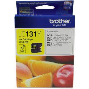 Brother LC131 Yellow Ink Cartridge (300 Pages)